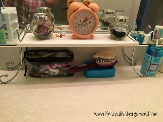 Kids' bathroom makeover - adding a shelf for counter top storage
