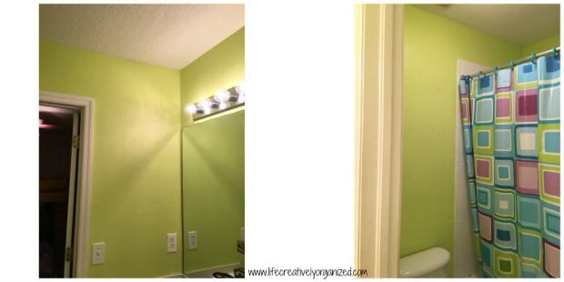 Kids bathroom makeover - freshly painted bathroom ready for shelving