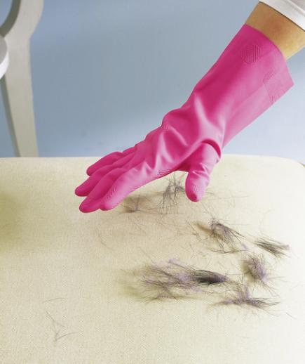 Use a rubber glove to get pet fur off of furniture!