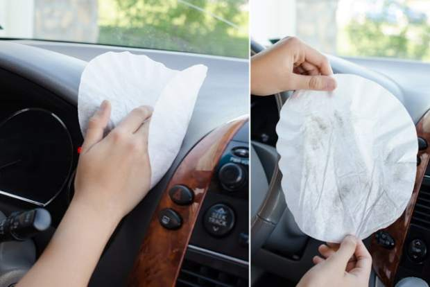Ten ways to organize and clean your car! Coffee filters make great dusters