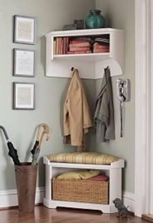 Entryway organization ideas - corner entry shelf.