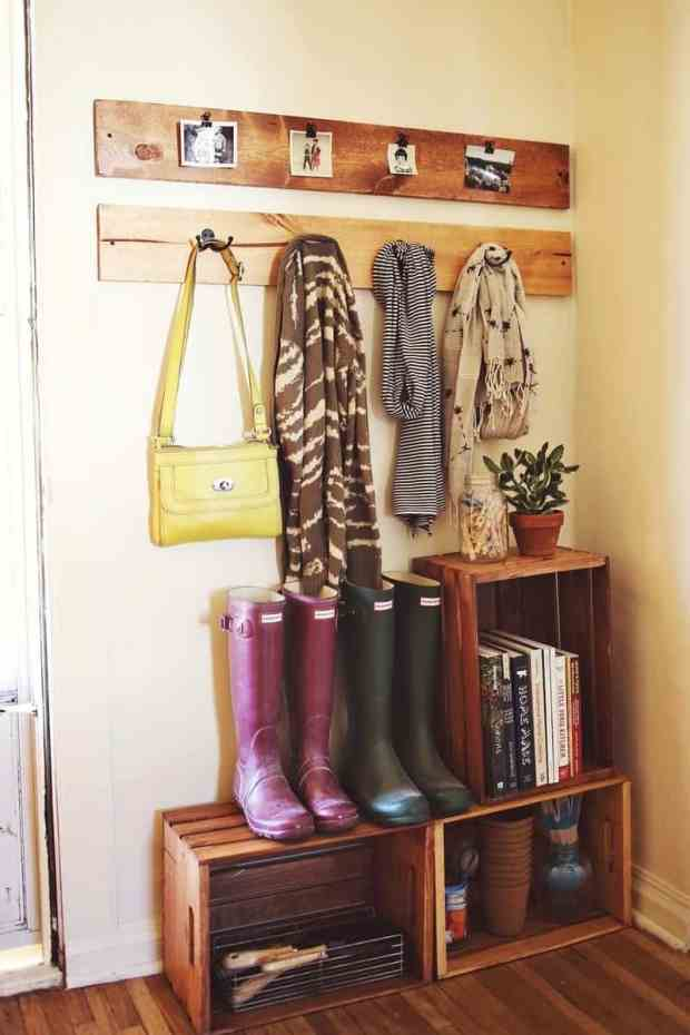 Entryway organization ideas - stacked crates for entryway storage