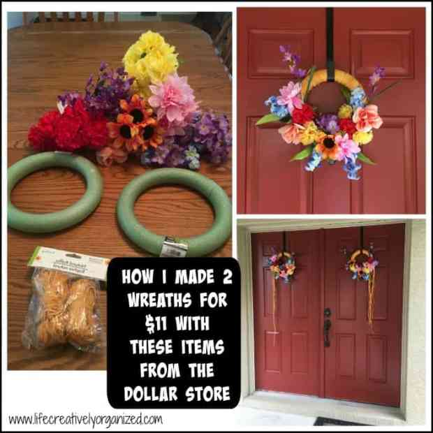 How to make a wreath for $5. Buying pre-made wreaths can be expensive, so, I decided to make my own. I spent $11 for 2 wreaths, using only items from the dollar store.