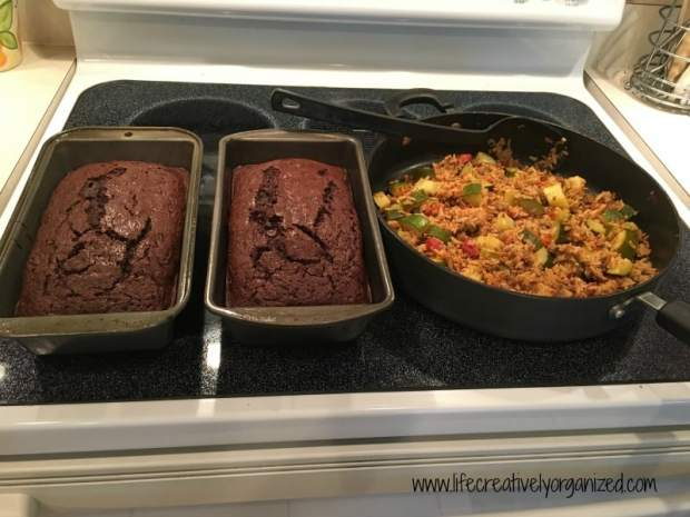 All zucchini meal - decadent double chocolate zucchini bread and veggie, beef and rice skillet.