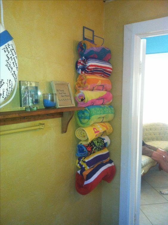 Awesome pool storage ideas - wine rack towel holder