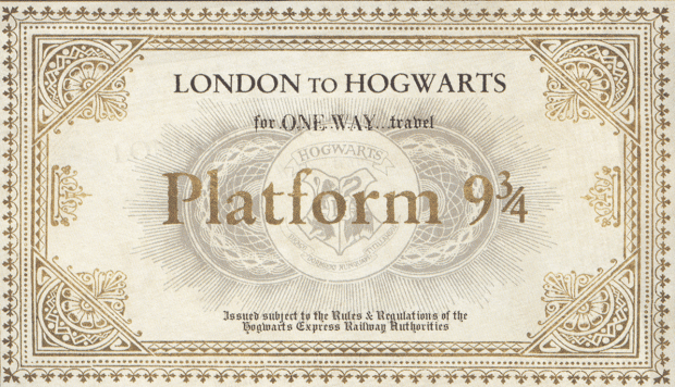 Take me to Hogwarts, Harry Potter! Come with me! Print out your own Hogwart's Express ticket.