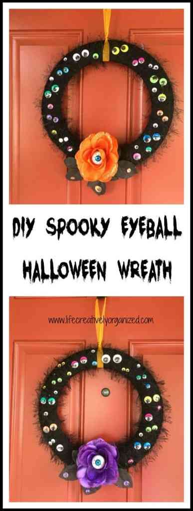 DIY spooky eyeball Halloween wreath