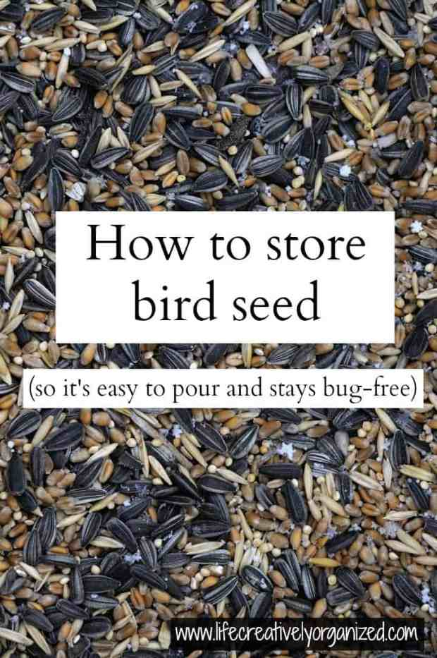 Do you love to feed wild birds, but find a large bag of seed too hard to work with? Well, here's a great way to store bird seed so it is easy to pour & stays bug-free.