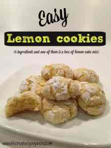Try these easy lemon cookies. These delicious cookies only have 6 ingredients & one of them is a box of lemon cake mix. That is my kind of recipe!