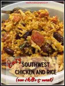 Easy southwest chicken and rice is my go-to meal on a busy night. It is fast and delicious, with brown rice, chicken, tomatoes, Tex-Mex spices and cheese. Yum!