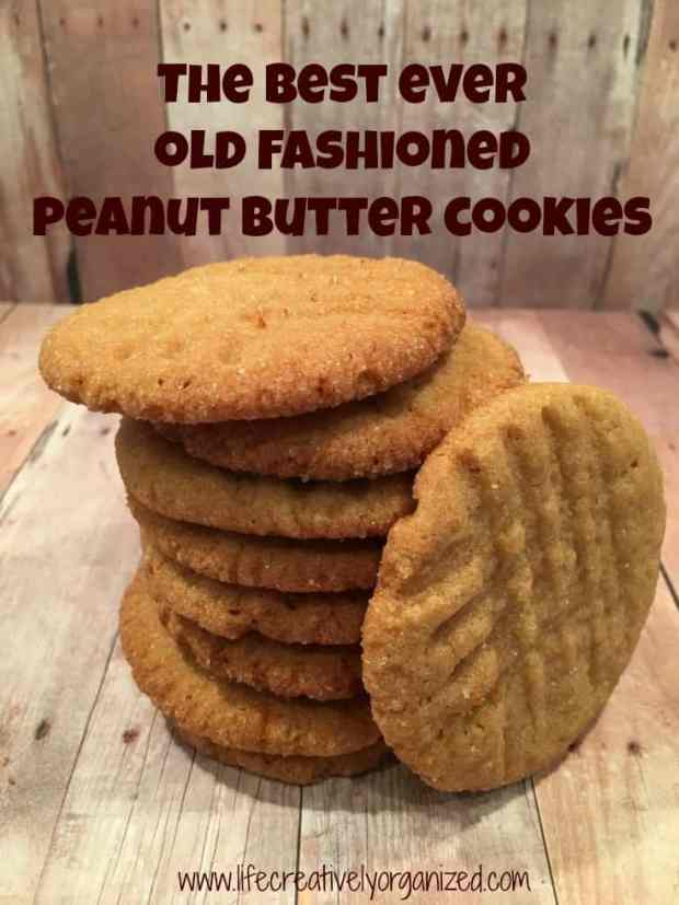 Old fashioned peanut butter cookies. Nothing better than that heavenly aroma when you came home from school, unless it was biting into a warm, chewy cookie. Yum!