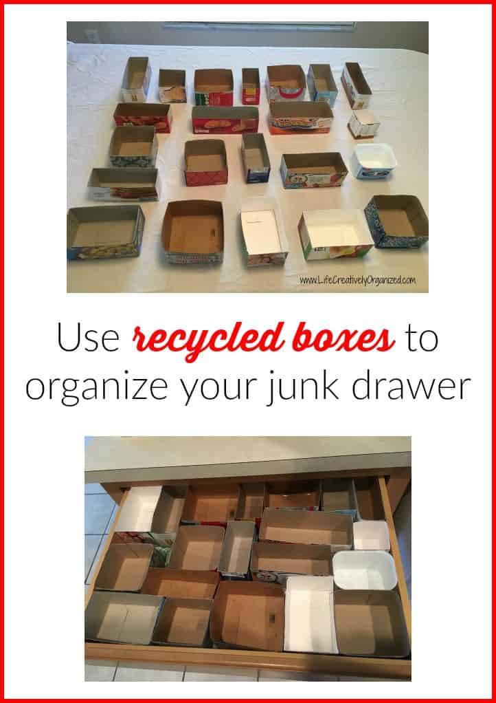 Use Recycled Boxes To Organize Your Junk Drawer Life