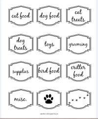 Pet organizing labels