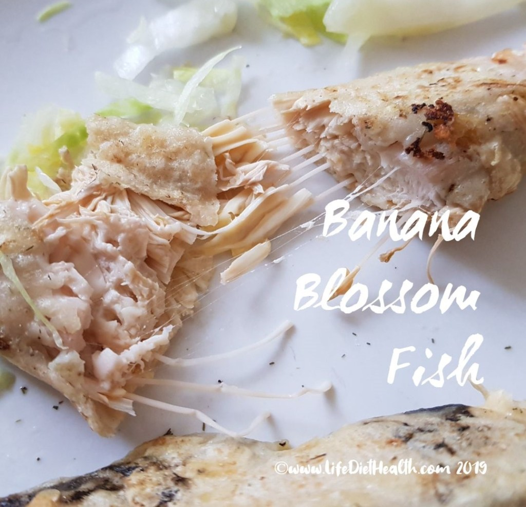 Banana blossom fish torn in half to show the inside