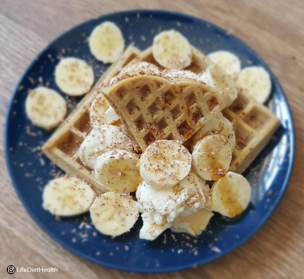 waffles with sliced banana