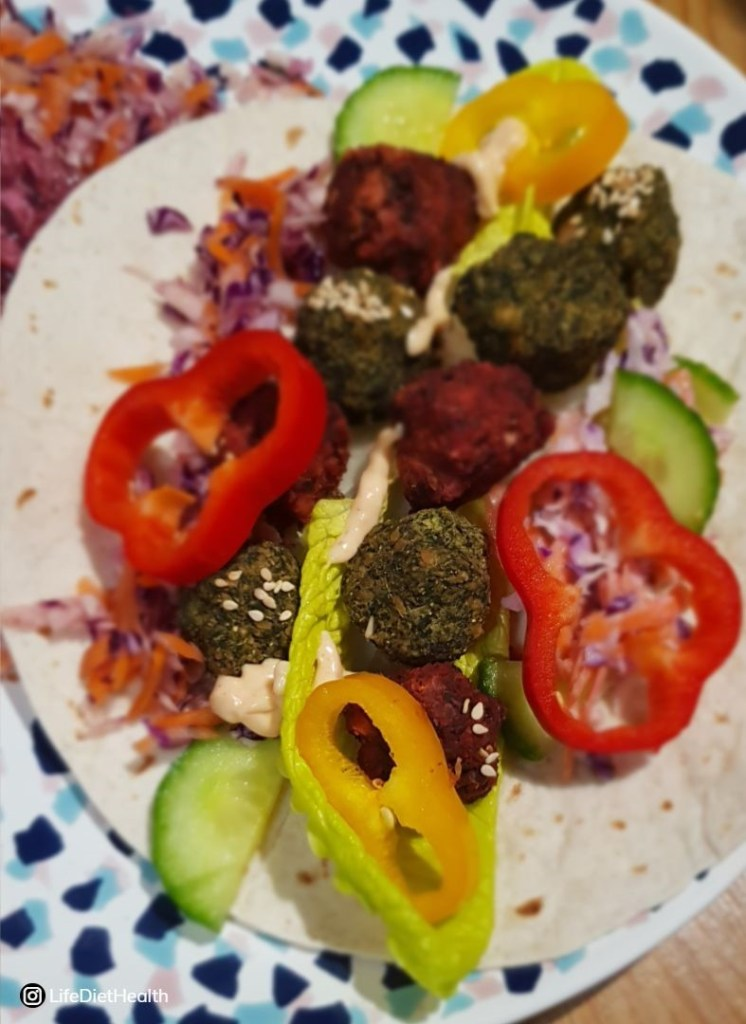 red and green falafel