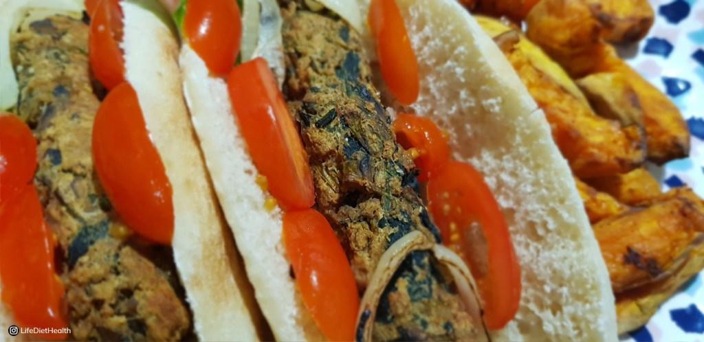 close up of veggie sausages