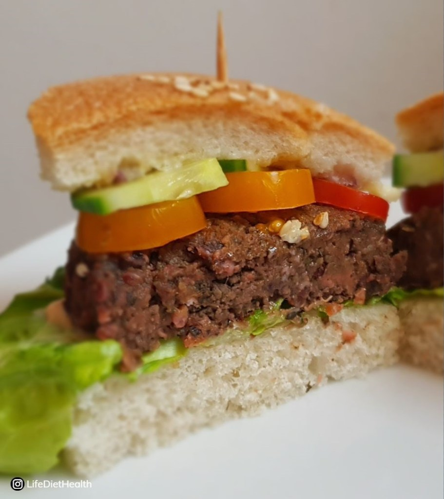 Beetroot burger cut in half