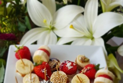 fruit snacks and flowers