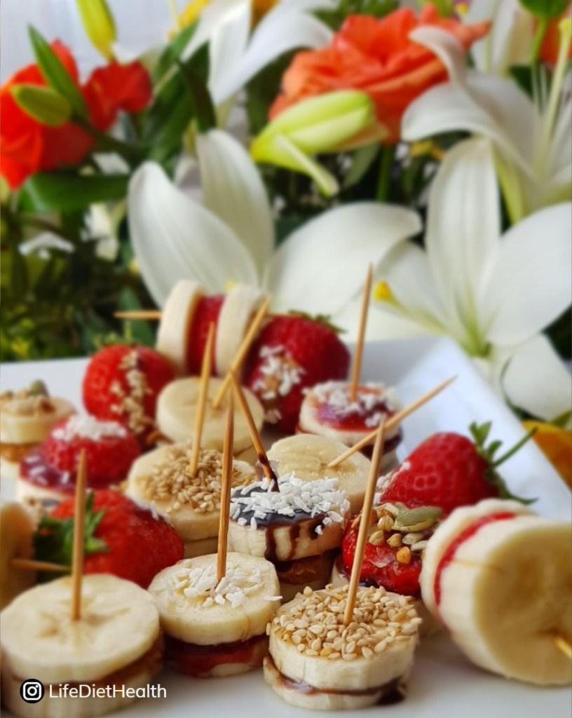 bananas and strawberry snacks