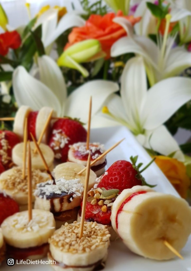 bananas, stawberries and flowers