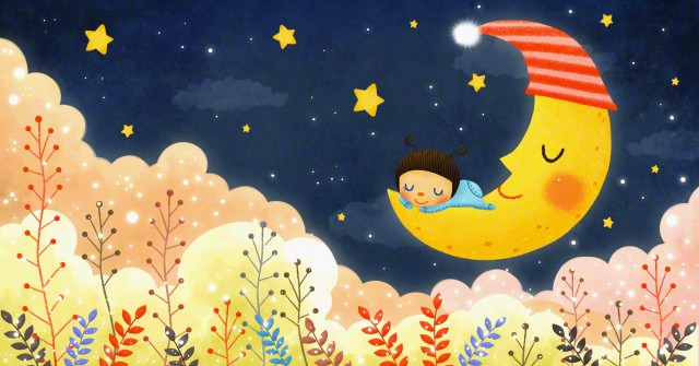 A girl sleeping on the moon --- Image by © TongRo Images/Corbis