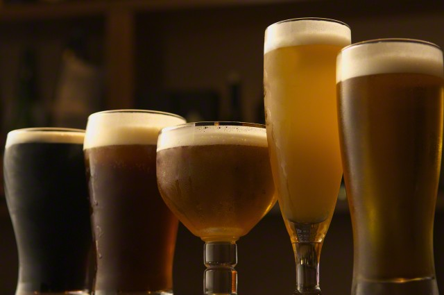 Selection of beers in glasses --- Image by © Koji Hanabuchi/Corbis