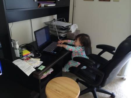 KK on the laptop
