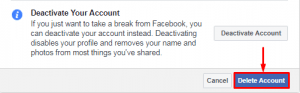 Deletion page on Facebook