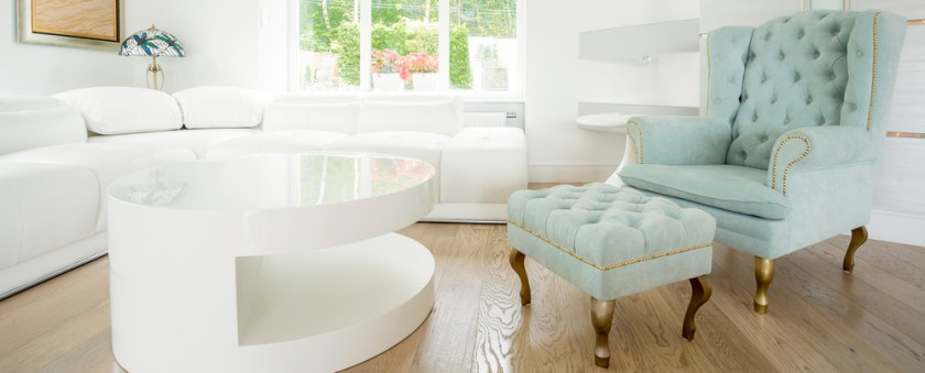 Exclusive comfortable chair in bright room - panorama