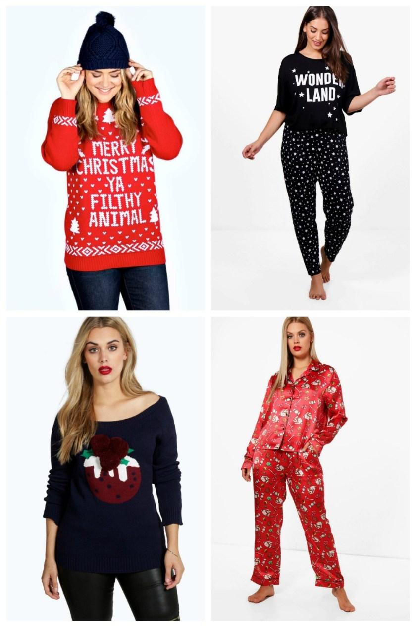 Christmas Picks from Boohoo Plus Ivy Filthy Animal Xmas Jumper Plus Jess Christmas Wonderland Pj Set Plus Lola Xmas Pudding Jumper Plus Maria Christmas Piping Trouser PJ Set