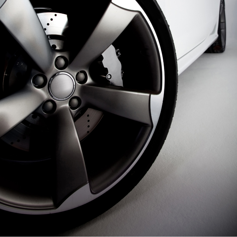Close up of a car wheel