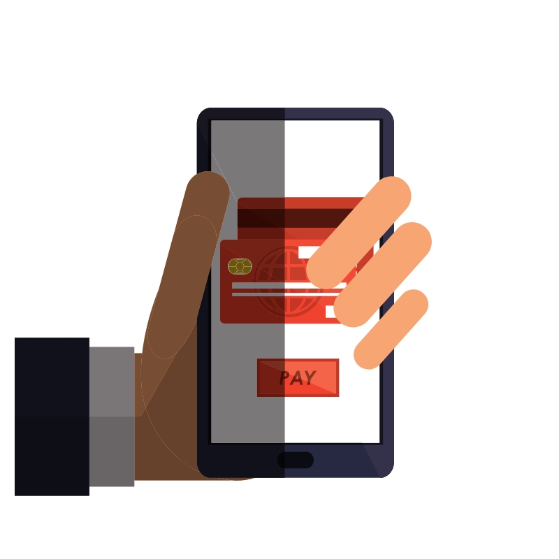 vector of a hand holding a phone