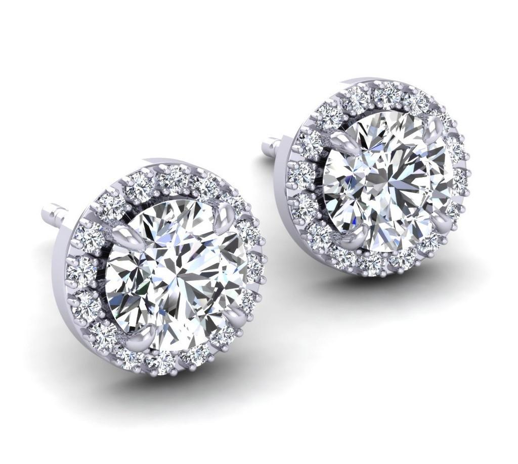 Swarovski Pave Halo White Gold Earrings