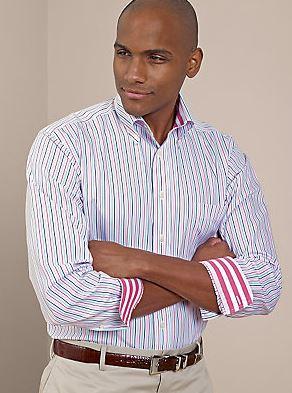 Non-Iron Cotton Stripe Button Down Collar Sport Shirt