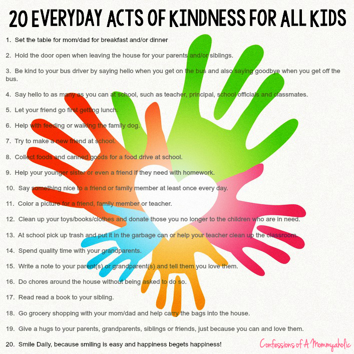 20 Everyday Acts of Kindness for all Kids from Confessions of a Mommyaholic - Sunday's Best Week 45 Featured Blogger