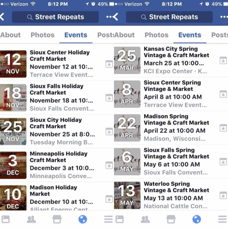 Street Repeats Events from the Street Repeats Facebook Page before Teri Hardy Hatland deleted the account