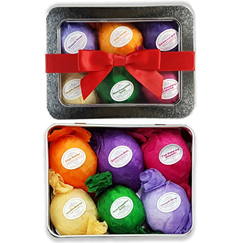 Bath Bomb Gift Set USA – 6 Vegan All Natural Essential Oil Lush Fizzies. Organic Shea and Cocoa Soothe Dry Skin. Birthday Gifts for her, Teen girls, Christmas gift. Add to Bath Bubbles – Bath Basket