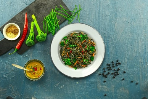 Recipe: Organic Black Bean Spaghetti with Lightly Steamed Vegetables and Peanut Sauce