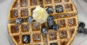 Lemon Ricotta Waffle with Mascarpone and Blueberries from The Hotel Saugatuck