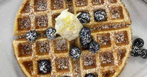 Lemon Ricotta Waffle with Mascarpone and Blueberries from The Hotel Saugatuck