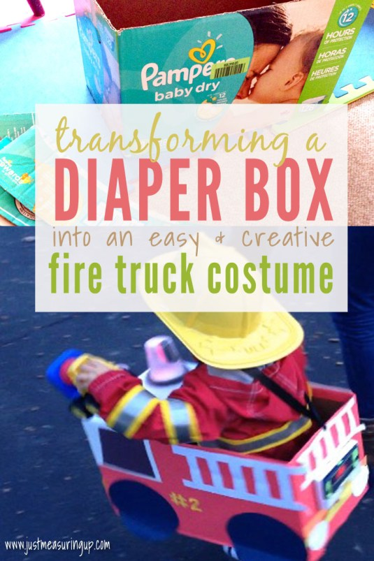 Week 145 - Fire Truck Costume from a Diaper Box from Just Measuring Up