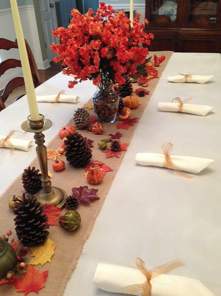 natural burlap runner and thanksgiving decor