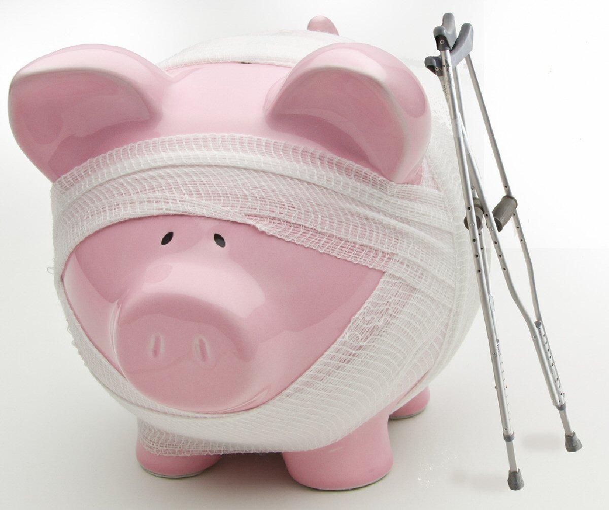 injured piggy bank
