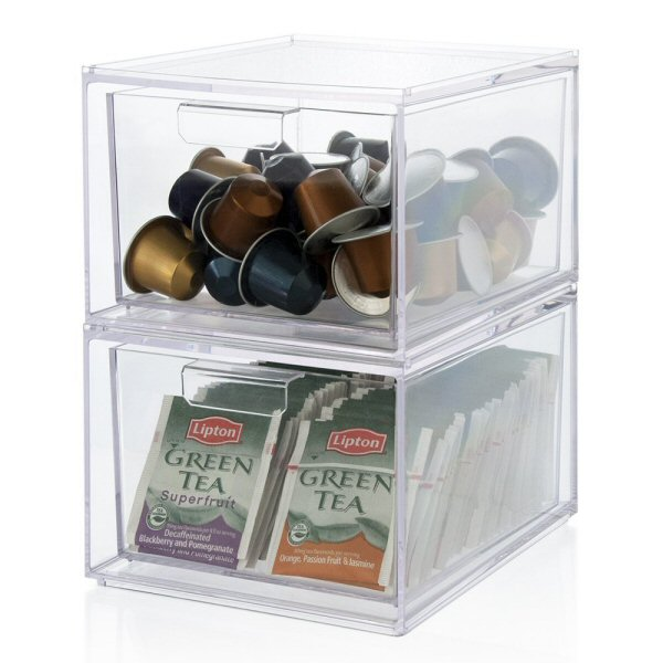 Stackable Clear Plastic Coffee Pod and Tea Bag Organizer Drawers 2-pack