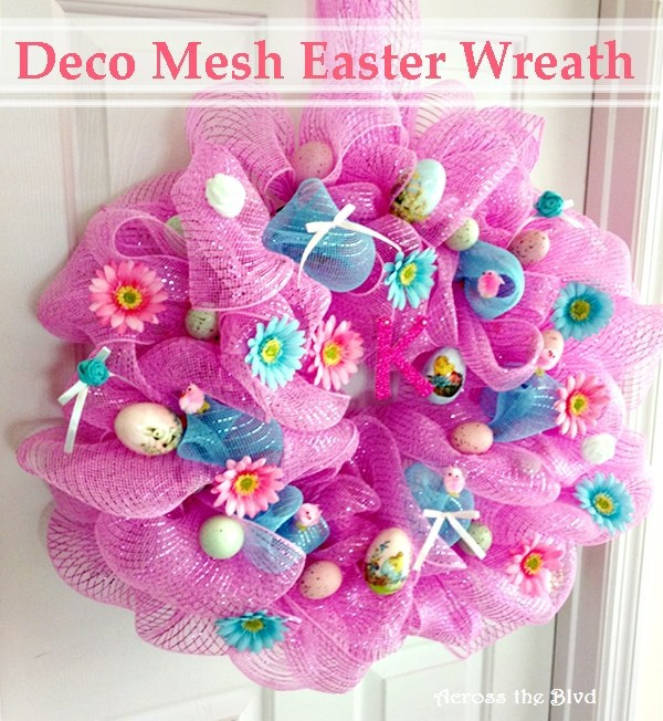 Week 166 Deco Mesh Easter Wreath from Across the Blvd