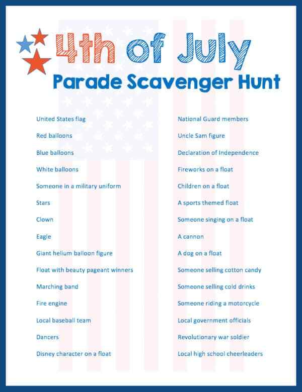 Week 181 - 4th of July Parade Scavenger Hunt from Grandma Ideas