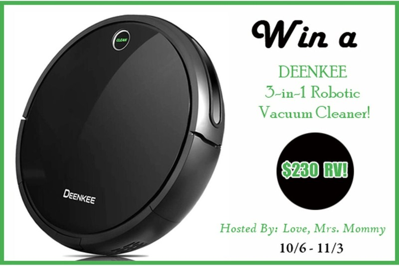 DEENKEE 3-In-1 Robotic Vacuum Cleaner Giveaway from Love, Mrs. Mommy – $230 RV – Ends 11/3/2018