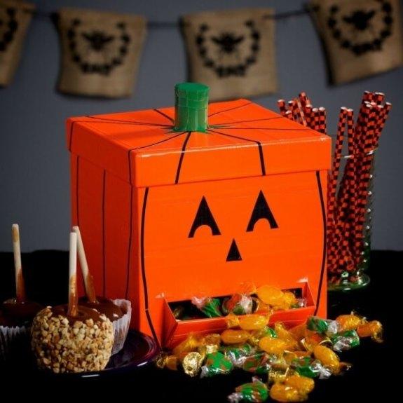 Week 250 DIY Duct Tape Jack O'Lantern Candy Dispenser from Janine Huldie