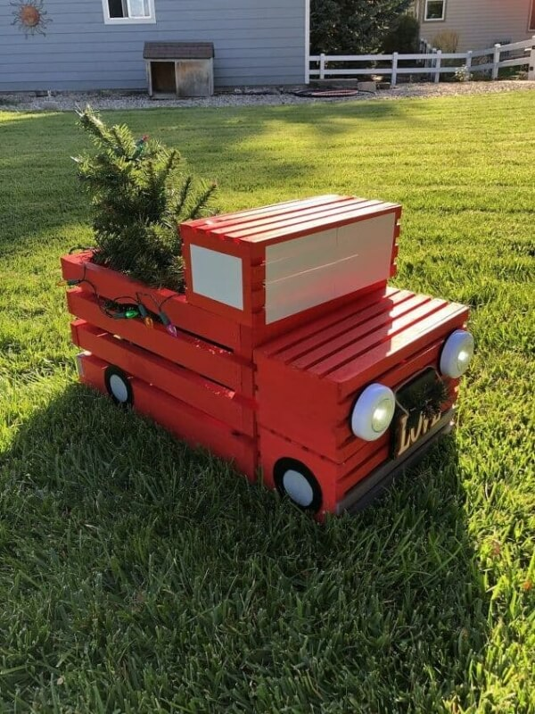 Week 252 - DIY Crate Red Pickup Truck from Chas Crazy Creations